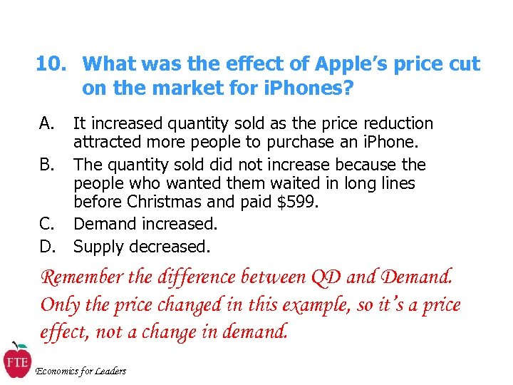 10. What was the effect of Apple's price cut on the market for i.