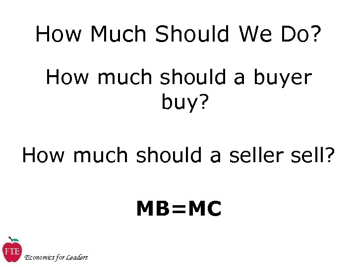 How Much Should We Do? How much should a buyer buy? How much should
