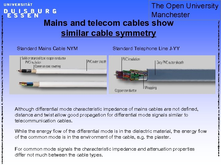 Mains and telecom cables show similar cable symmetry Standard Mains Cable NYM Standard Telephone