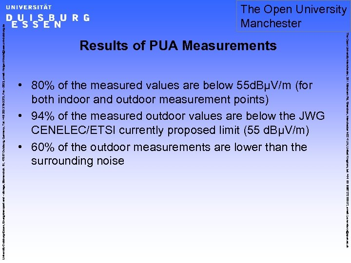 Results of PUA Measurements • 80% of the measured values are below 55 d.