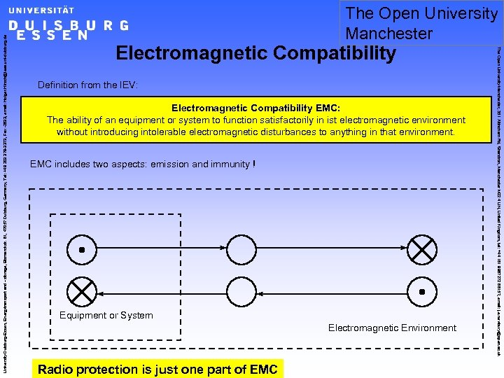 Electromagnetic Compatibility Definition from the IEV: Electromagnetic Compatibility EMC: The ability of an equipment