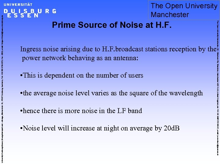 Prime Source of Noise at H. F. Ingress noise arising due to H. F.
