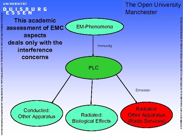 This academic assessment of EMC aspects deals only with the interference concerns EM-Phenomena Immunity