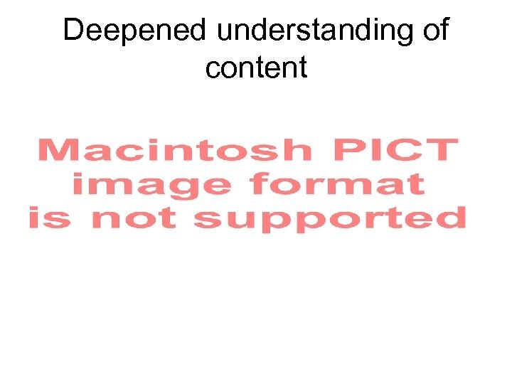 Deepened understanding of content