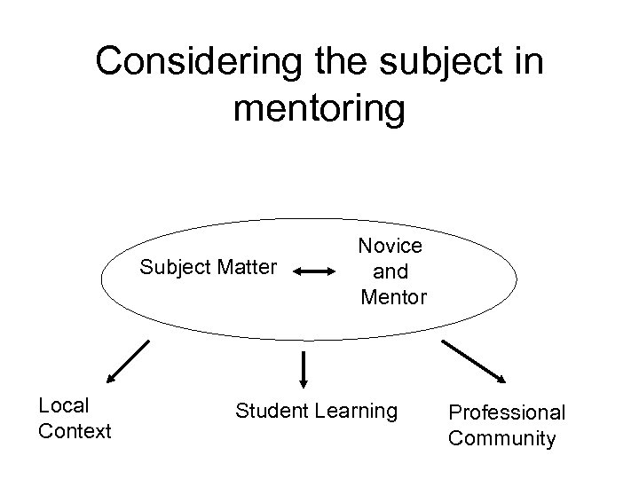 Considering the subject in mentoring Subject Matter Local Context Novice and Mentor Student Learning