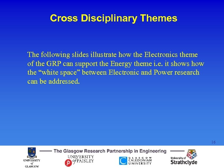 Cross Disciplinary Themes The following slides illustrate how the Electronics theme of the GRP