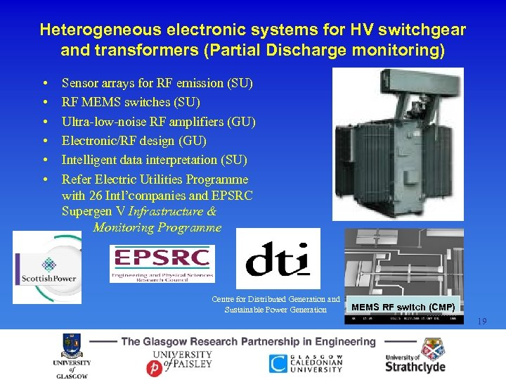 Heterogeneous electronic systems for HV switchgear and transformers (Partial Discharge monitoring) • • •