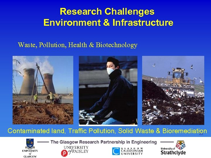 Research Challenges Environment & Infrastructure Waste, Pollution, Health & Biotechnology Contaminated land, Traffic Pollution,
