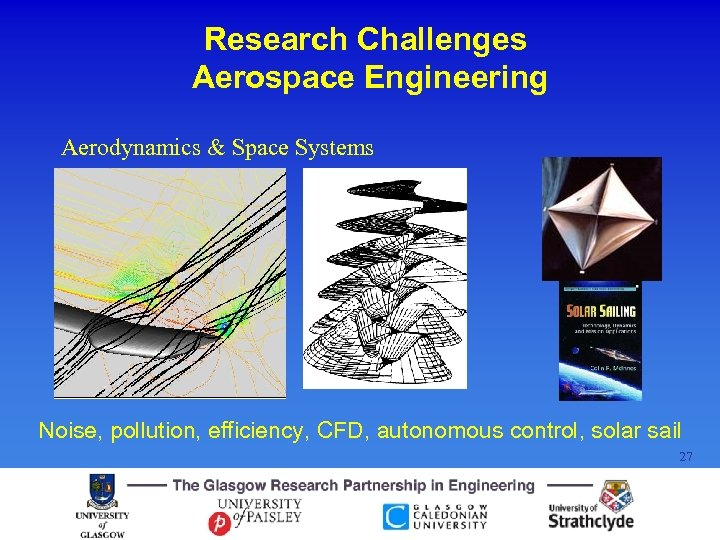 Research Challenges Aerospace Engineering Aerodynamics & Space Systems Noise, pollution, efficiency, CFD, autonomous control,