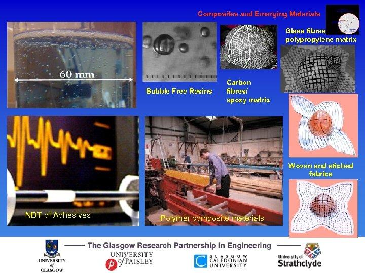 Composites and Emerging Materials Glass fibres/ polypropylene matrix Bubble Free Resins Carbon fibres/ epoxy