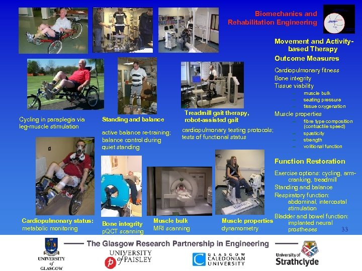 Biomechanics and Rehabilitation Engineering Movement and Activitybased Therapy Outcome Measures Cardiopulmonary fitness Bone integrity