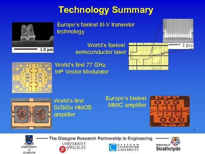 Technology Summary Europe's fastest III-V transistor technology World's fastest semiconductor laser 2 mm World's