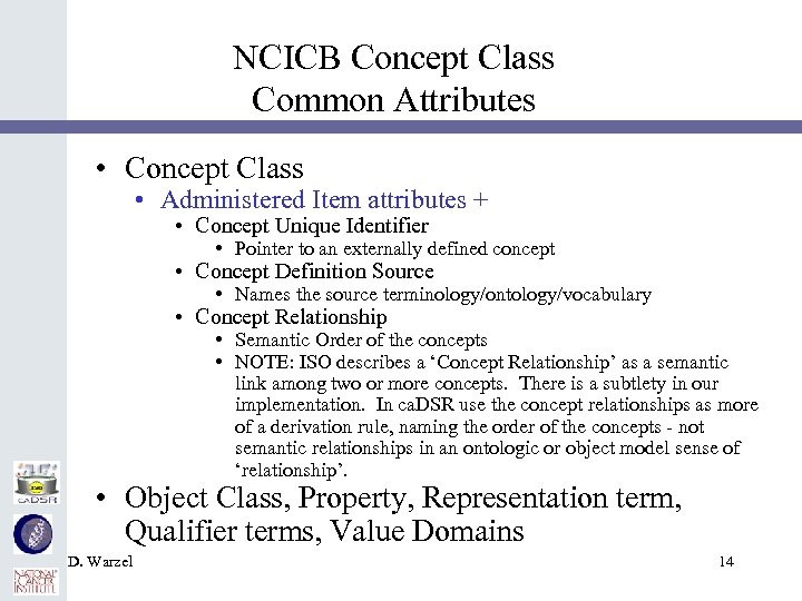 NCICB Concept Class Common Attributes • Concept Class • Administered Item attributes + •