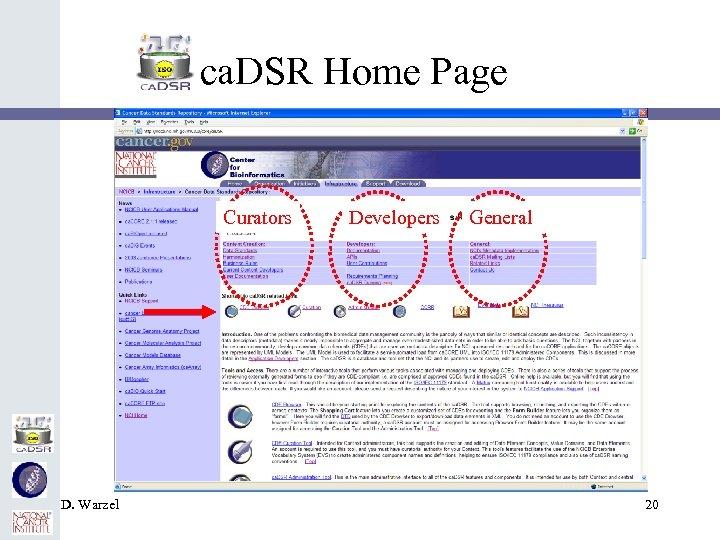 ca. DSR Home Page Curators D. Warzel Developers General 20