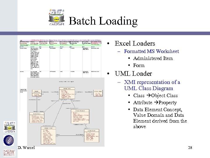 Batch Loading • Excel Loaders – Formatted MS Worksheet • Administered Item • Form