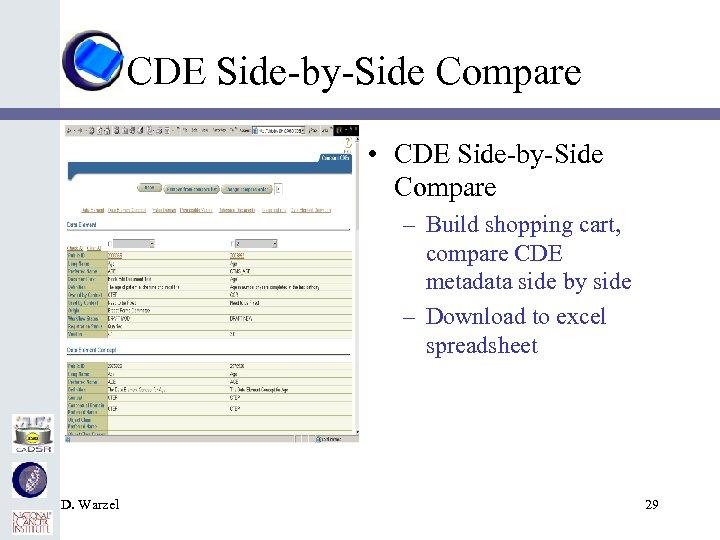 CDE Side-by-Side Compare • CDE Side-by-Side Compare – Build shopping cart, compare CDE metadata