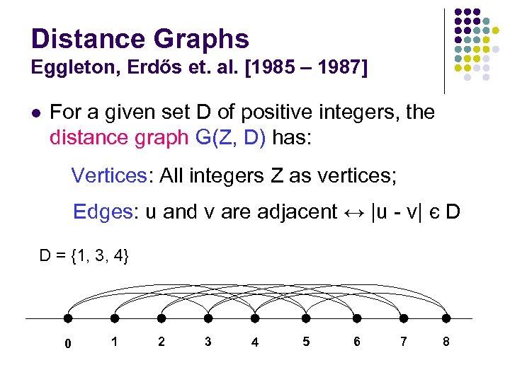 Distance Graphs Eggleton, Erdős et. al. [1985 – 1987] l For a given set