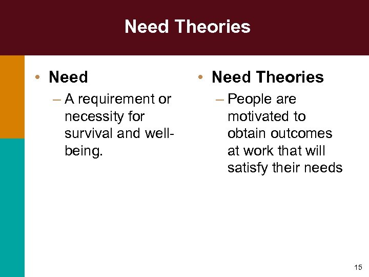 Need Theories • Need – A requirement or necessity for survival and wellbeing. •