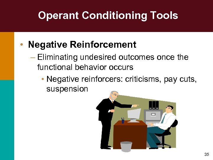 Operant Conditioning Tools • Negative Reinforcement – Eliminating undesired outcomes once the functional behavior
