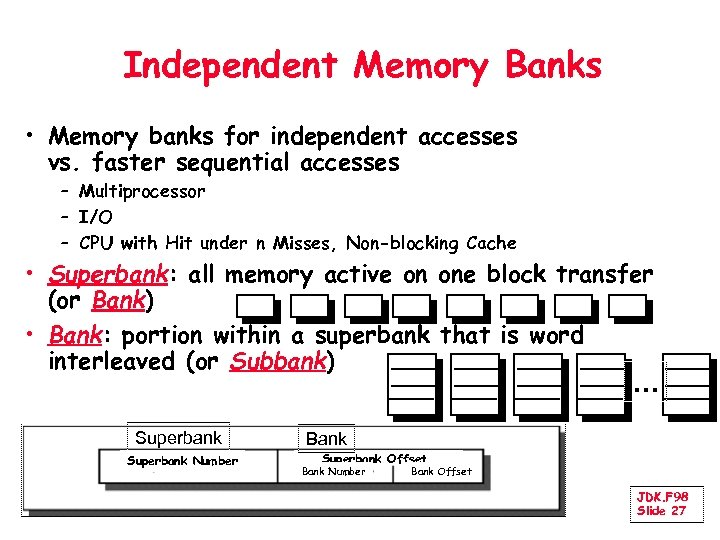 Independent Memory Banks • Memory banks for independent accesses vs. faster sequential accesses –