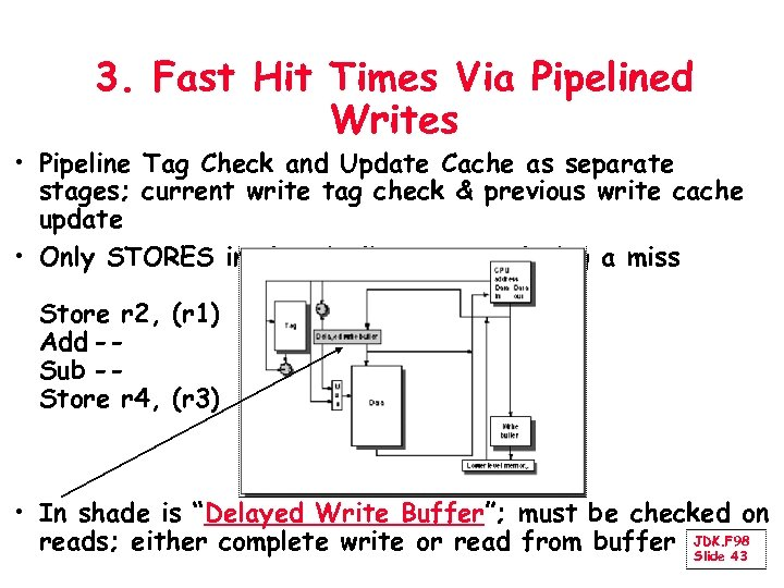 3. Fast Hit Times Via Pipelined Writes • Pipeline Tag Check and Update Cache