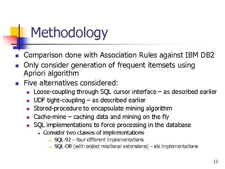 Methodology n n n Comparison done with Association Rules against IBM DB 2 Only