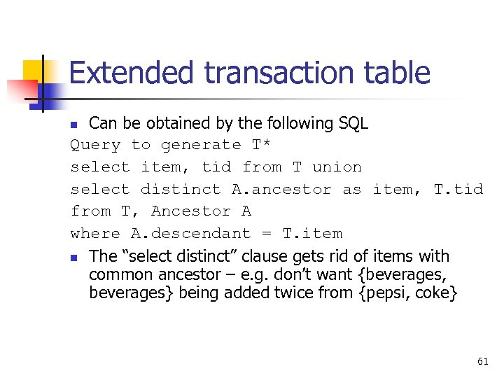 Extended transaction table Can be obtained by the following SQL Query to generate T*