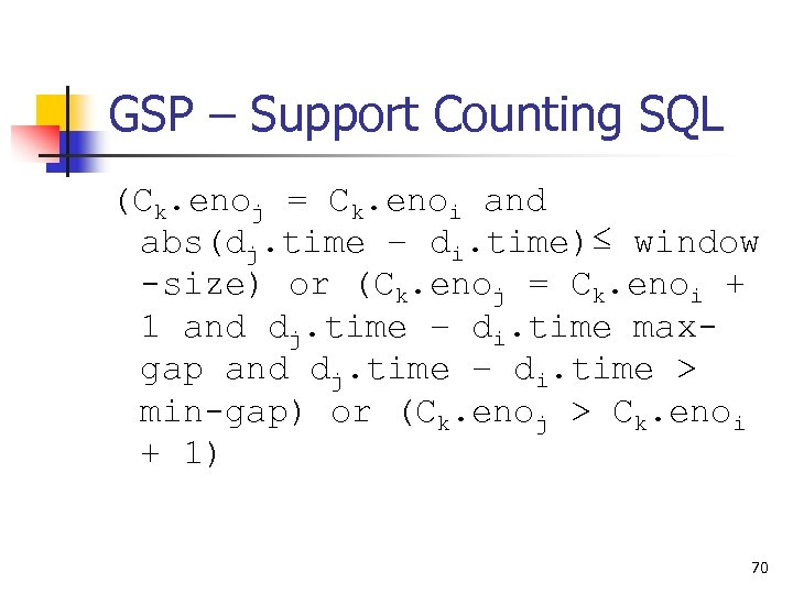 GSP – Support Counting SQL (Ck. enoj = Ck. enoi and abs(dj. time –