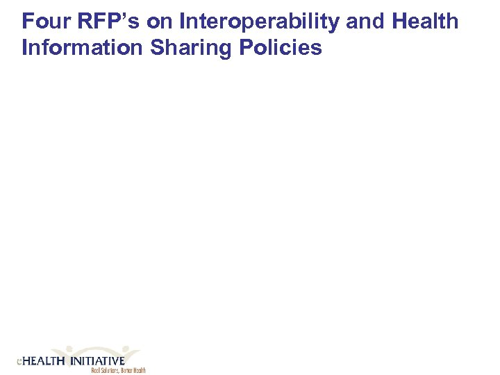 Four RFP's on Interoperability and Health Information Sharing Policies