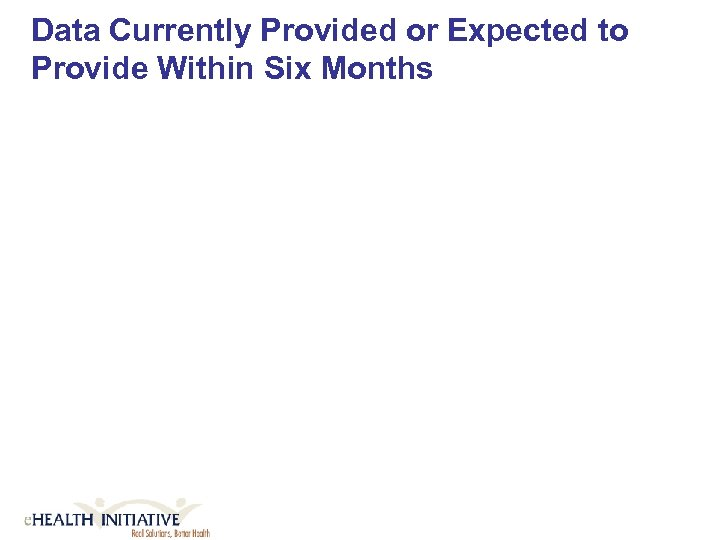 Data Currently Provided or Expected to Provide Within Six Months