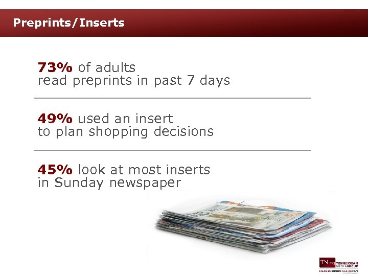 Preprints/Inserts 73% of adults read preprints in past 7 days 49% used an insert