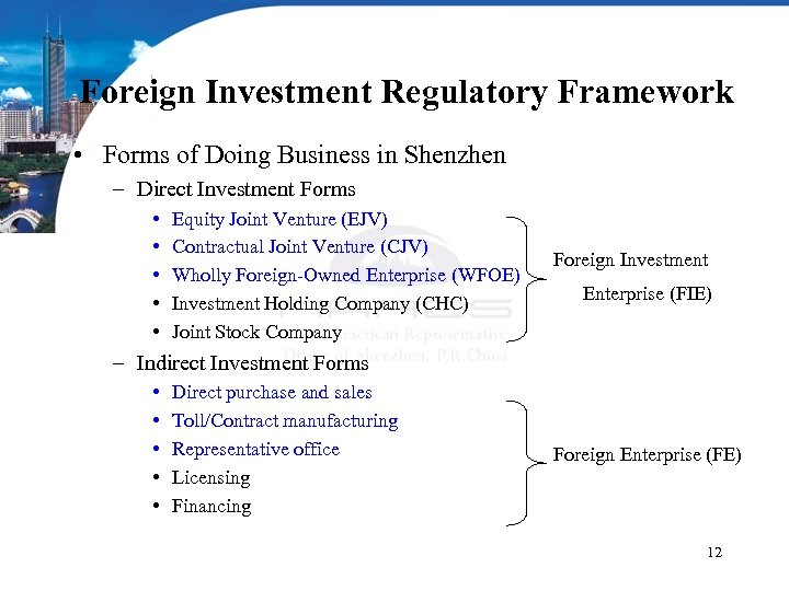 Foreign Investment Regulatory Framework • Forms of Doing Business in Shenzhen – Direct Investment