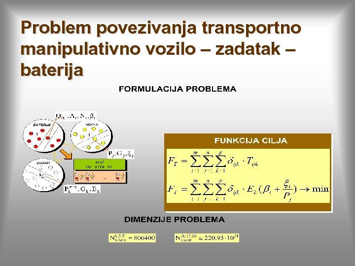 Problem povezivanja transportno manipulativno vozilo – zadatak – baterija