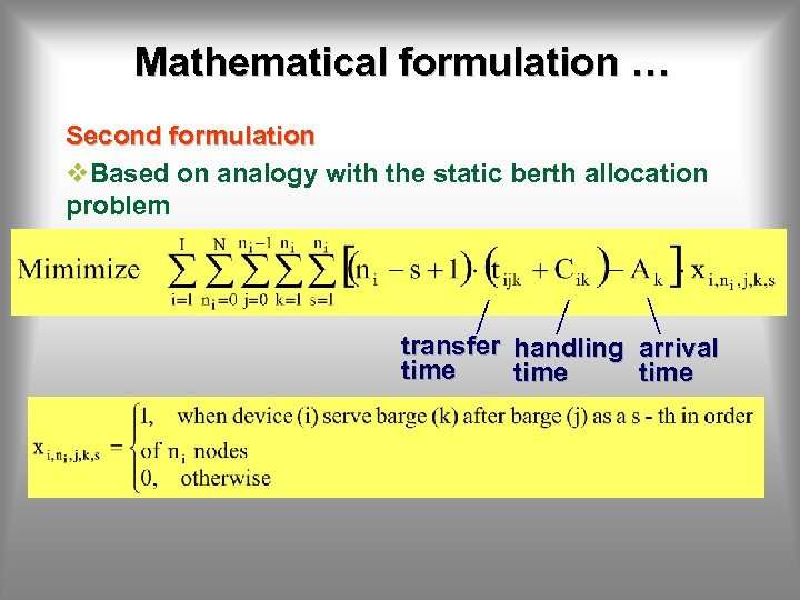 Mathematical formulation … Second formulation v. Based on analogy with the static berth allocation