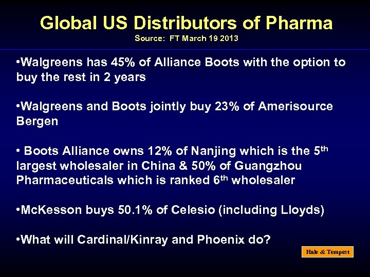 Global US Distributors of Pharma Source: FT March 19 2013 • Walgreens has 45%