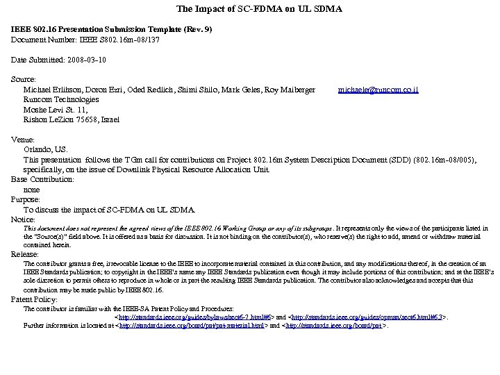 The Impact of SC-FDMA on UL SDMA IEEE 802. 16 Presentation Submission Template (Rev.