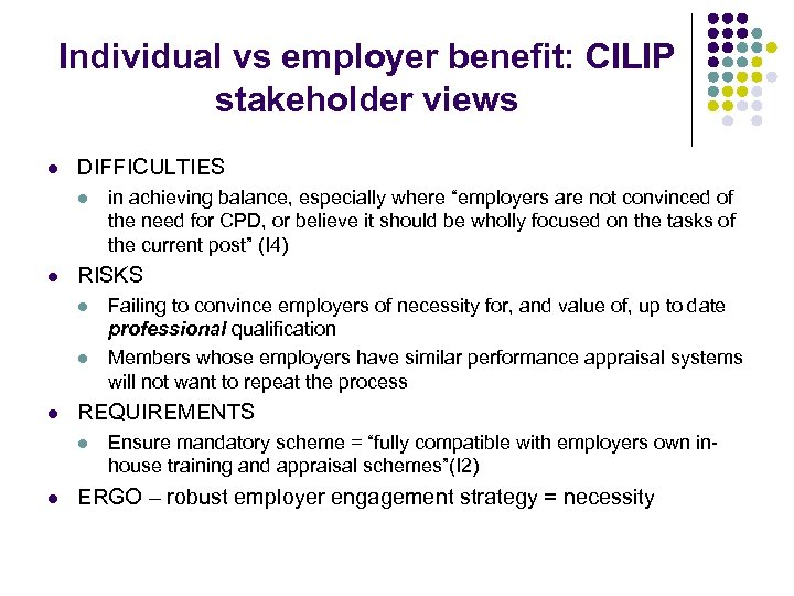 Individual vs employer benefit: CILIP stakeholder views l DIFFICULTIES l l RISKS l l