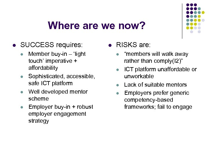 Where are we now? l SUCCESS requires: l l Member buy-in – 'light touch'