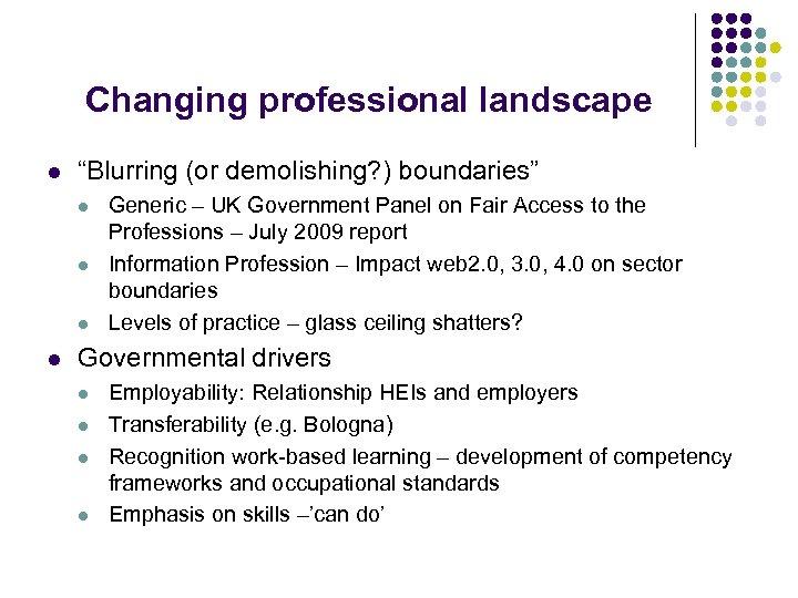 "Changing professional landscape l ""Blurring (or demolishing? ) boundaries"" l l Generic – UK"