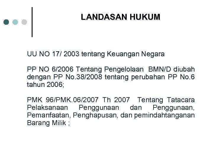 LANDASAN HUKUM UU NO 17/ 2003 tentang Keuangan Negara PP NO 6/2006 Tentang Pengelolaan