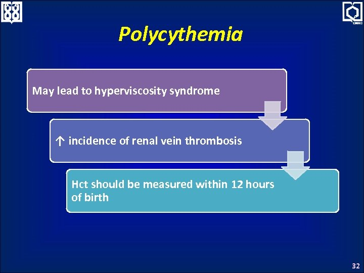 Polycythemia May lead to hyperviscosity syndrome ↑ incidence of renal vein thrombosis Hct should