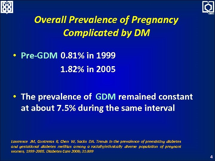 Overall Prevalence of Pregnancy Complicated by DM • Pre-GDM 0. 81% in 1999 1.