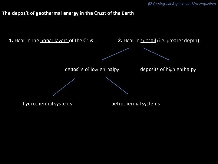 § 2 Geological Aspects and Prerequisites The deposit of geothermal energy in the Crust