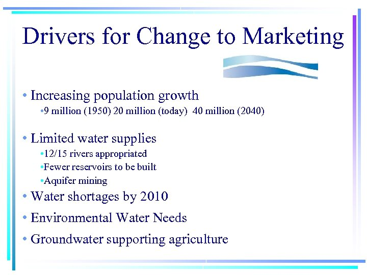 Drivers for Change to Marketing • Increasing population growth • 9 million (1950) 20