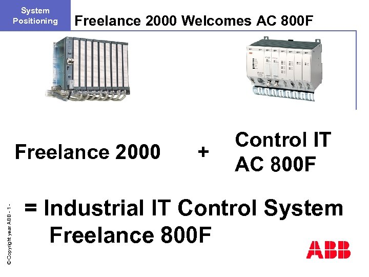 System Positioning Freelance 2000 Welcomes AC 800 F © Copyright year ABB - 1