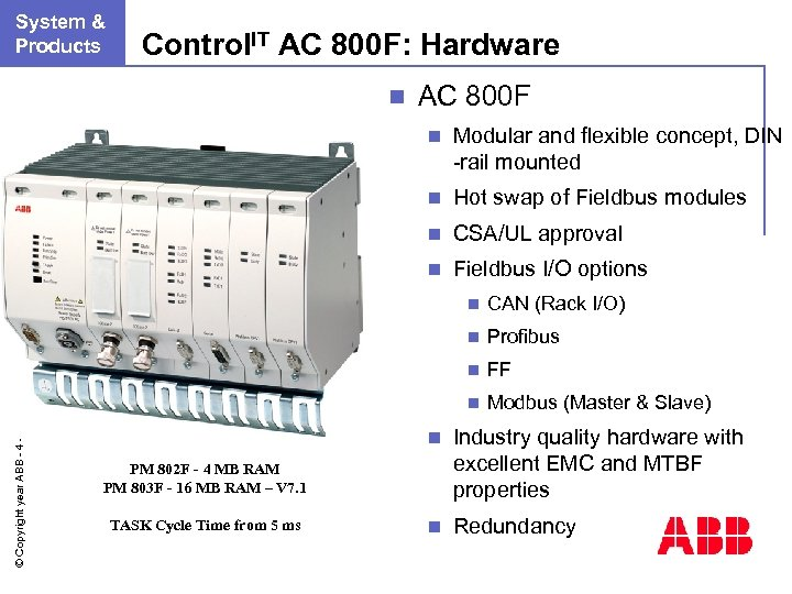 n. System & Products Control. IT AC 800 F: Hardware n AC 800 F