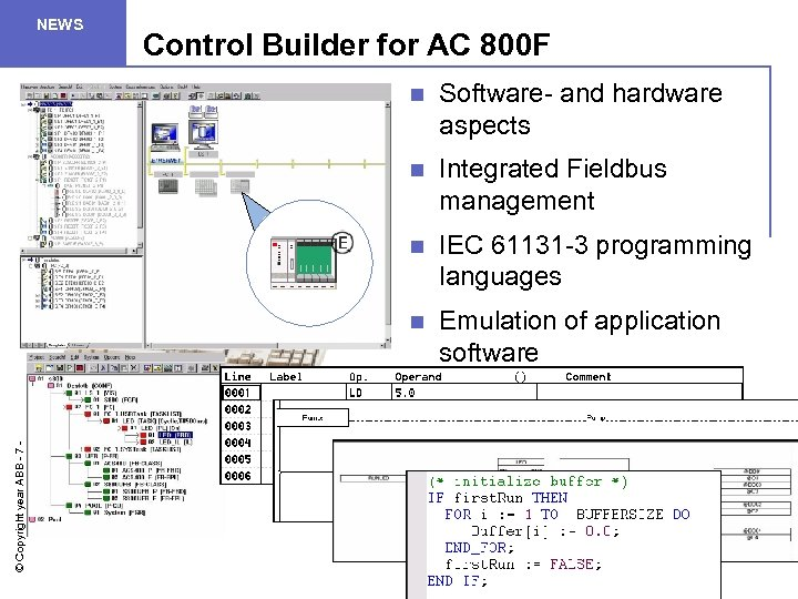 NEWS Control Builder for AC 800 F Software- and hardware aspects n Integrated Fieldbus