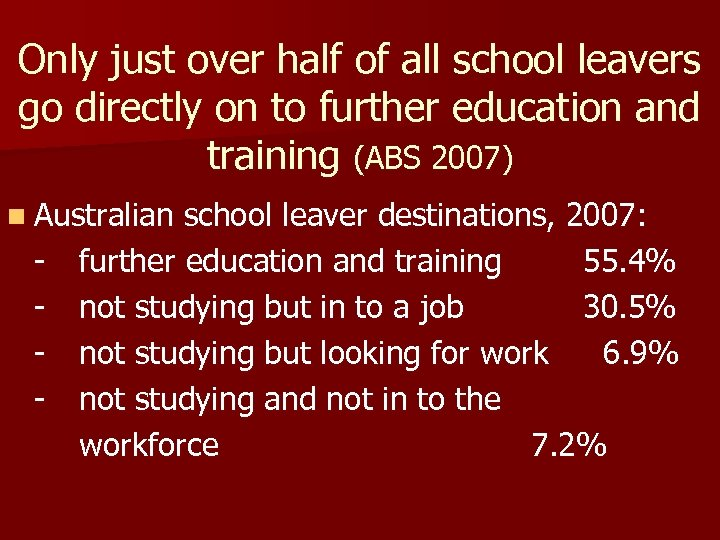Only just over half of all school leavers go directly on to further education