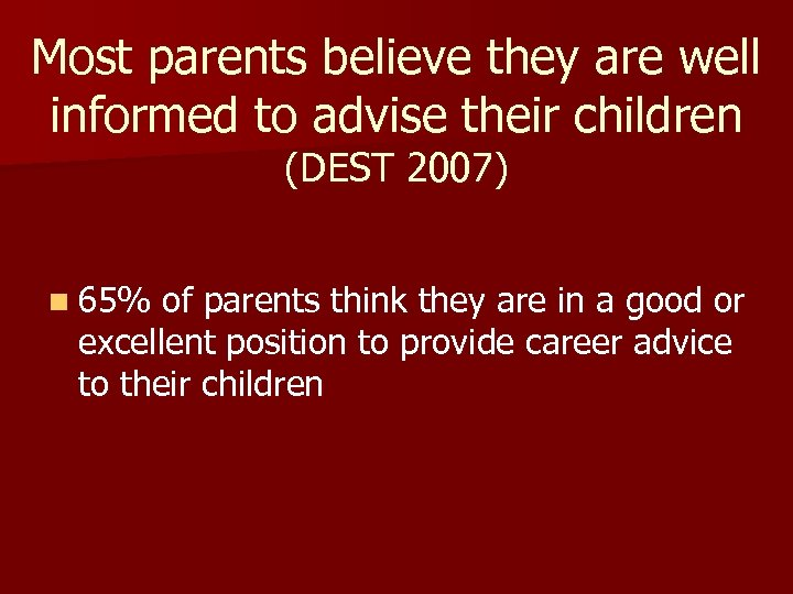 Most parents believe they are well informed to advise their children (DEST 2007) n