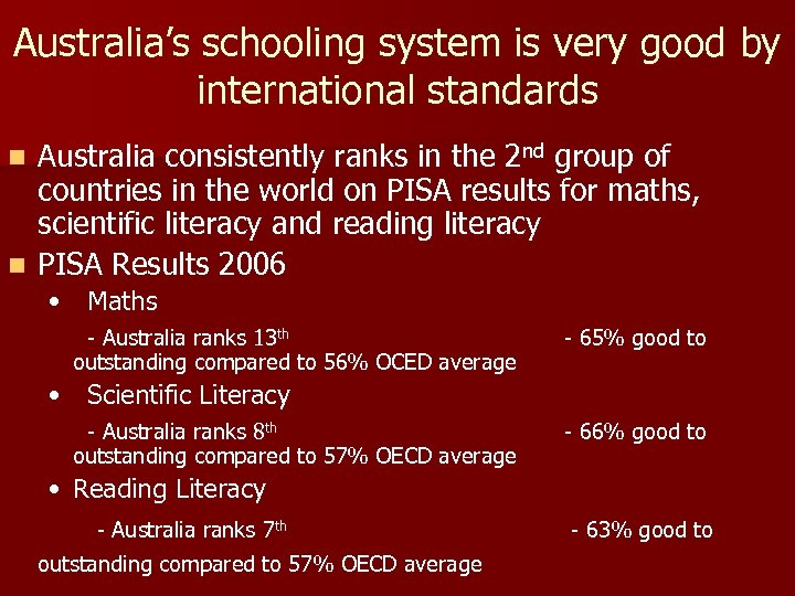 Australia's schooling system is very good by international standards Australia consistently ranks in the
